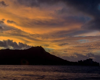Photography Print- Landscape, Nature, Sunrise view from Waikiki of Diamond Head Mountain in Hawaii