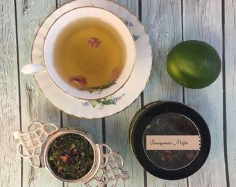 Pomegranate Mojito Loose Leaf Green Tea in Window Tin or Sample