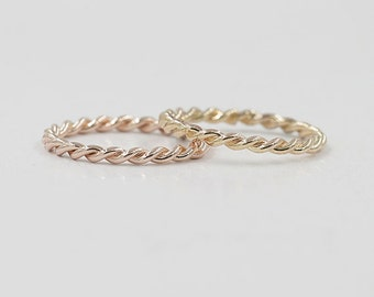 2MM Gold Twist Band.Solid 14K Gold Rope Wedding band.Rose gold ring.Minimalist ring.Stacking Dainty Stackable ring.Simple Wedding Band