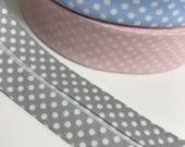 1 meter spotty bias binding, spotty, wide bias binding, nursery colours, bunting heading tape, mays arts