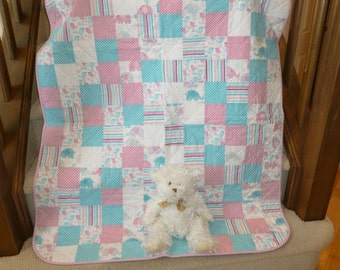 Pink & Blue Baby Quilt