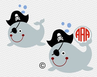 Whale pirate skull monogram SVG Clipart Cut Files Silhouette Cameo Svg for Cricut and Vinyl File cutting Digital cuts file DXF Png Pdf Eps