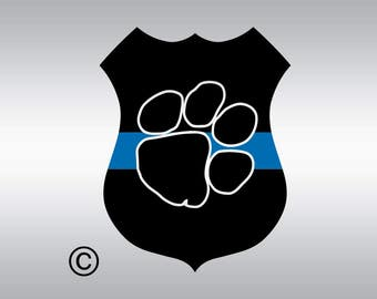 Police badge dog blue line SVG Clipart Cut Files Silhouette Cameo Svg for Cricut and Vinyl File cutting Digital cuts file DXF Png Pdf Eps