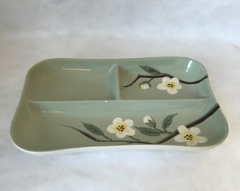 Weil Ware California Malay Blossom Celadon Divided Relish Tray