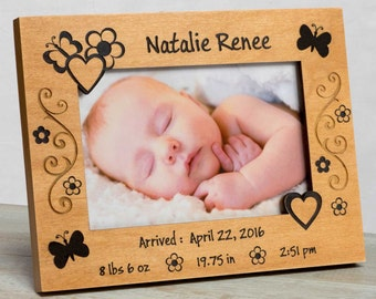 Personalized Baby Picture Frame, Baby Girl Picture Frame,New Baby Girl Frame, Baby Girl Frame, Baby Girl Birth Frame, Baby Frame For Girls