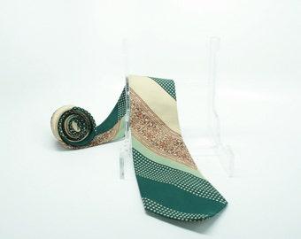 Vintage 70s Green Floral Variegated Striped Tie Polyester Disco Necktie