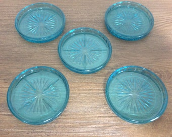 Vintage Turquoise Blue Glass Drink Coasters - Set of 5