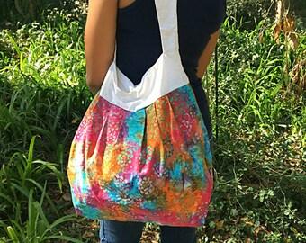 Gift for Her - Tye Dye Hobo Bohemian Large Purse - Slouch Bag - Boho Slouch Bag - Large Tote - Pleated Purse - Large Bag