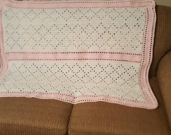 Baby blanket, crochet baby blanket, pink and white, baby afghan, baby shower gift