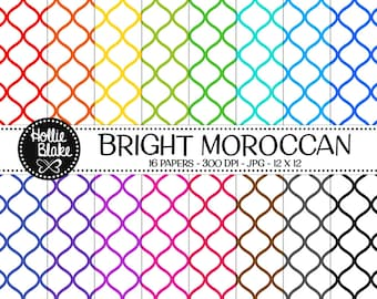 Buy 1 Get 1 Free!! 16 Bright Moroccan Digital Paper • Rainbow Digital Paper • Commercial Use • Instant Download • #MOROCCAN-102-1-B