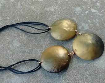 Black and Gold Dome Clay Necklace