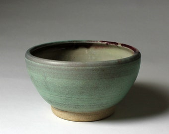 Turquoise Ceramic Serving Bowl Handmade Pottery
