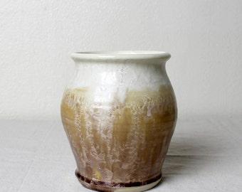 Stoneware Mocha Crystalline Vase Handmade Pottery