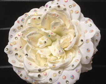 Ivory Rose Burlesque Hair Flower Clip with Crystal Rhinestones