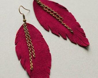 Long Leather Earrings- Leather Earrings- Dangle Earrings- Recycled Earrings- Boho Chic Earrings- Feather Earrings- Red Earrings