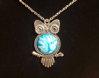 20mm Silver Owl Pendant Necklace Silver Chain Necklace