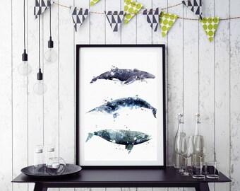 Sale off whale watercolor art print digital file