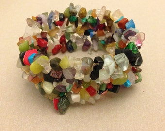 Vintage Multicolored Stone Chip Bracelet