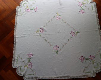Lovely Vintage square linen tablecloth hand embroidered with orchids. Proceeds to charity VACD Ltd