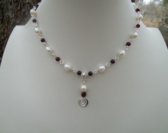 Garnet and Freshwater Pearl Choker Set with Removable Bail