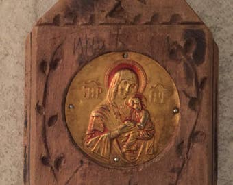 Antique handmade Icon of Virgin Mary & Baby Jesus on Hand carved wood