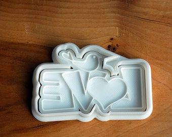 Bird on Love Cookie Cutter and Stamp