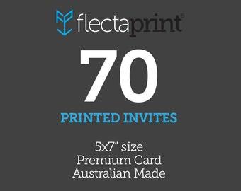 """x70 5x7"""" Printed Invites - Australian Made - Premium Cardstock"""