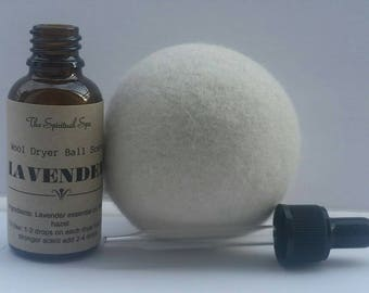 Organic Wool Dryer Ball with Oil /Lavender Essential Oil/Natural Laundry Scent /Natural Cleaning/Chemical Free