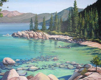 Lake Tahoe Painting Early Morning at Sand Harbor - giclee print