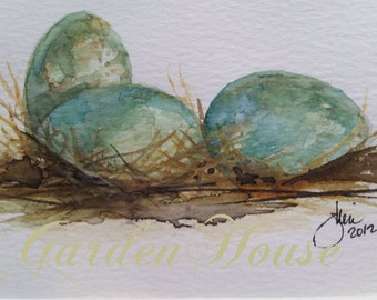 Original Watercolor 3 Blue Eggs in Straw