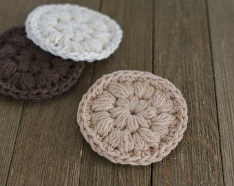 Cotton Face Scrubbies, Eco-friendly, Reusable 100% Cotton Set of 3 Crochet Face Scrubby, Makeup Remover, Crochet Scrubbies