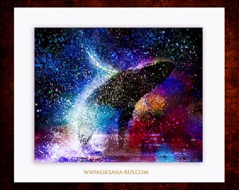 """Painting """"Whale Bliss"""" • Abstract Print • Ocean • Luxury • Nature • Art Deco"""