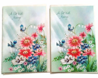 Vintage Get Well Cards, Unused Get Well Cards, Retro Get Well Cards, Pastel Cards, MCM Get Well Cards, Pretty Get Well Card