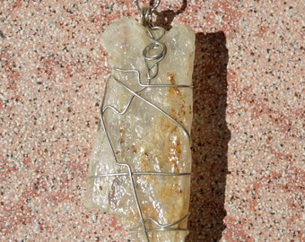 Calcite wire wrapped pendant