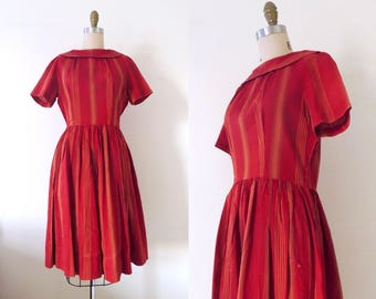 Vintage 1950s cotton day dress | 50s deep red full skirt dress | red cotton dress | fit and flare | 50s cotton dress | 50s day dress | M