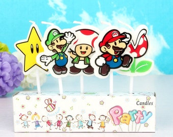 Super Mario Bros Candle 5pcs|Cartoon theme party|Prince boy 1st first birthday|Baby shower decoration|Centerpiece cup cake topper|Nintendo