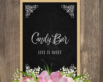 Candy bar signs, Wedding table decor, Wedding table signs, Chalkboard bar sign, Decorative chalkboard decor, Digital chalkboard wall art