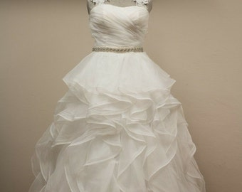 Lace organza ruffles wedding dress, bridal gown with crystal belt