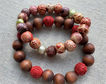 Mala wooden beaded bracelet with red cinnabar beads