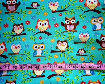 Teal Owl Fabric-By-The-Yard