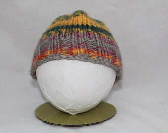Hand Knitted Infant Hats - Green/Grey/Yellow