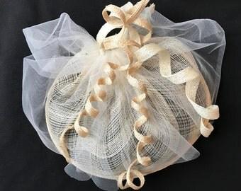 Cream Fascinator, Wedding Bridal Hat,  Ivory Cocktail Hat, Cream Tulle Headpiece, Church Hat, Races Hat, Handmade Hat