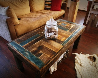 Rustic unique farmhouse style multicolor Shabby Chic Coffee Table Reclaimed wood Decor Handmade  loft end table unique blue brown