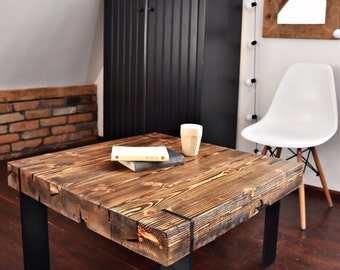 Modern Rustic  farmhouse style Coffee Table Reclaimed wood black corian legs  Decor Handmade end table