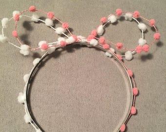 Mini pom pom bow headband for girls with teeth+free shipping