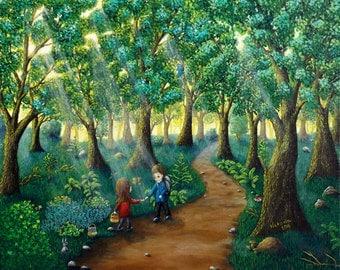 Forest Painting, Landscape painting, Children Painting, Original Painting, Original Art, Naive Art, Fine Art, Forest Trail Art, Painting