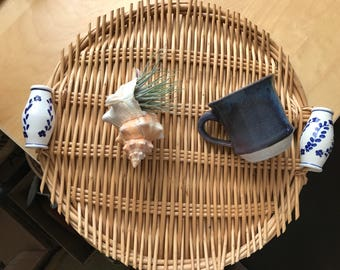 Wicker tray with ceramic holders