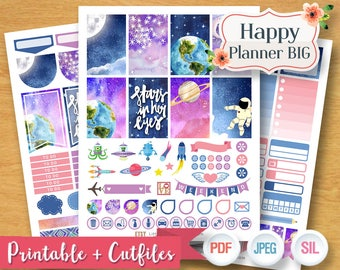 2017 2018 Space Ship Galaxy Fly to the Moon Weekly Planner Stickers Digital Planner Kit Sticker Printable BIG Happy Planner Instant Download