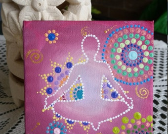 Pink Yoga 10cm x 10cm Acrylic on canvas board. Comes with display stand.