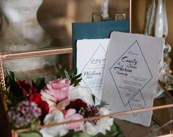 Wedding invitation | Recycled paper invitations | Handmade paper invitations | Custom invitations | Unique invitations | Diamond design